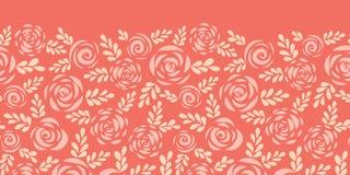 Scandinavian flat roses seamless vector border red royalty free illustration
