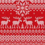 Scandinavian flat style  knitted pattern with deers and elks Stock Photography