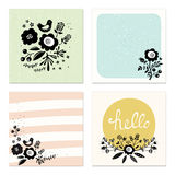 Scandinavian Floral Cards Royalty Free Stock Photo