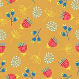 Scandinavian flowers seamless vector background. 1960s, 1970s retro floral fall autumn pattern. Yellow, red, and blue doodle. Vintage flowers on gold. Trendy royalty free illustration