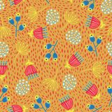 Scandinavian flowers seamless vector background. 1960s, 1970s retro floral fall autumn pattern. Yellow, red, and blue doodle. Vintage flowers on gold. Trendy stock illustration