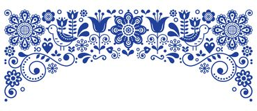 Scandinavian folk art frame border retro vector greeting card design, floral navy blue ornament with birs and flowers. Retro floral background inspired by Royalty Free Stock Image