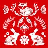 Folk art  pattern in Scandinavian style. Editable vector illustration. Scandinavian folk art pattern with birds and flowers vector illustration