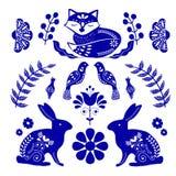 Folk art pattern in Scandinavian style. Editable vector illustration. Scandinavian folk art pattern with birds and flowers stock illustration