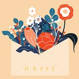 Folk art pattern in Scandinavian style. Editable vector illustration. Scandinavian folk art pattern with birds and flowers royalty free illustration