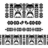 Scandinavian folk art pattern - black long stripe, seamless background, Finnish inspired, Nordic style Royalty Free Stock Photography