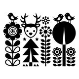 Scandinavian folk art pattern - Finnish inspired, Nordic style with flowers, deer, and birds Royalty Free Stock Photos