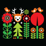 Scandinavian folk art pattern with flowers and animals, Finnish inspired design on black Royalty Free Stock Photography