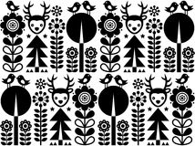 Scandinavian folk art pattern with flowers and animals, Finnish inspired design in black and white Royalty Free Stock Photos