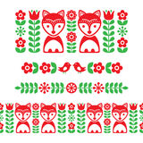 Scandinavian folk art pattern - long stripe, seamless background, Finnish inspired, Nordic style. Vector repetive cute background with flowers and animals Stock Images