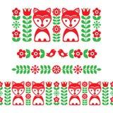 Scandinavian folk art pattern - long stripe, seamless background, Finnish inspired, Nordic style Stock Images
