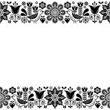 Scandinavian folk art retro vector greeting card design, floral ornament in black and white Royalty Free Stock Photography