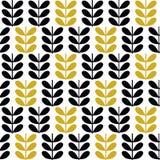Scandinavian folk art seamless  pattern with plants in minimalist style. Scandinavian folk art seamless  pattern with black and gold plants in minimalist style Royalty Free Stock Photo