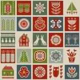 Scandinavian folk art seamless  pattern with flowers, trees, rabbit, owl, houses, mushrooms, pears and decorative elements i. Scandinavian folk art seamless Stock Images