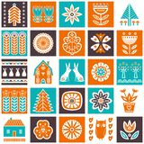 Scandinavian folk art seamless  pattern with flowers, trees, rabbit, owl, houses, mushrooms, pears and elements in simple st. Scandinavian folk art seamless Royalty Free Stock Image