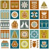 Scandinavian folk art seamless  pattern with flowers, trees, rabbit, owl, houses, mushrooms, pears and elements in simple st. Scandinavian folk art seamless Stock Photos