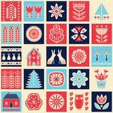 Scandinavian folk art seamless  pattern with flowers, trees, rabbit, owl, houses, mushrooms, pears and elements in simple st. Scandinavian folk art seamless Stock Images