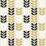 Scandinavian folk art seamless  pattern with plants in minimalist style. Scandinavian folk art seamless  pattern with black and gold plants in minimalist style Royalty Free Stock Photos