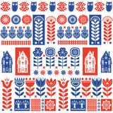 Scandinavian Folk Art Seamless Pattern With Flowers, Trees, Rabbit, Owl, Houses And Elements In Simple Style Stock Image