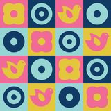 Scandinavian folk art seamless vector checkered pattern with colorful flowers, birds and circles in squares in simple style. Scandinavian folk art seamless Stock Image