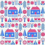 Scandinavian folk art seamless vector pattern with flowers, trees, mushrooms, owl, houses and rural scenery in simple style stock illustration