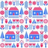 Scandinavian folk art seamless vector pattern with flowers, trees, mushrooms, owl, houses and rural scenery in simple style. Scandinavian folk art seamless Stock Photos