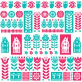 Scandinavian folk art seamless vector pattern with flowers, trees, owl, houses with decorative elements in simple style Royalty Free Stock Photo