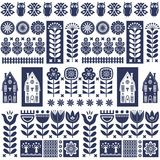Scandinavian folk art seamless vector pattern with flowers, trees, owl, houses with decorative elements in simple style stock illustration