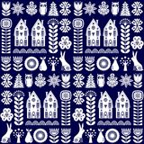 Scandinavian folk art seamless vector pattern with flowers, trees, rabbit, owl, houses with decorative elements and rural scenery Stock Photo