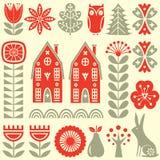 Scandinavian folk art seamless vector pattern with flowers, trees, rabbit, owl, houses and rural scenery in simple style. Scandinavian folk art seamless vector Stock Photos