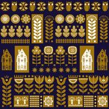Scandinavian folk art seamless vector pattern with flowers, trees, owl, houses with decorative elements in simple style Royalty Free Stock Photography