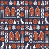 Scandinavian folk art seamless vector pattern with flowers, trees, rabbit, owl, houses and rural scenery in simple style. Scandinavian folk art seamless vector Royalty Free Stock Images