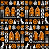 Scandinavian folk art seamless vector pattern with flowers, trees, rabbit, owl, houses and rural scenery in simple style. Scandinavian folk art seamless vector Royalty Free Stock Photo