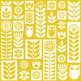 Scandinavian folk art seamless vector pattern with flowers, plants and owls in minimalist style stock illustration