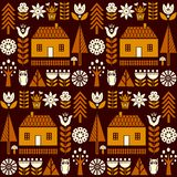 Scandinavian folk art seamless vector pattern with flowers, trees, mushrooms, owl, houses and rural scenery in simple style. Scandinavian folk art seamless Stock Images