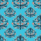 Scandinavian folk art tree birds seamless pattern vector illustration