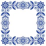 Scandinavian folk art vector frame, cute floral border, square pattern with navy blue flowers - invitation, greetings card. Floral retro background flowers Royalty Free Stock Images