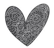 Scandinavian folk handwritten heart vector black - Valentines Day, wedding, birthday greeting card.  royalty free illustration