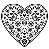 Scandinavian folk heart  black pattern with flowers and birds - Valentine`s Day, wedding, birthday greeting card Royalty Free Stock Image