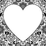 Scandinavian folk heart design greeting card or birthday or wedding invitation, floral vector pattern in black and white Stock Photography