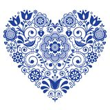 Scandinavian folk heart vector design, Valentine`s Day, birthday or wedding greeting card, floral pattern in navy blue. Retro background with flowers inspired by Stock Images