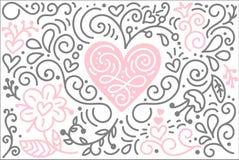 Scandinavian folk heart vector with flowers and flourish - Valentines Day, wedding, birthday greeting card.  royalty free illustration