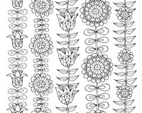 Scandinavian folk style flowers, seamless pattern Stock Photo