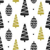 Scandinavian Forest trees nordic seamless pattern stock illustration