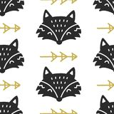 Scandinavian Fox nordic seamless pattern. Hand drawn trendy folk art decoration backdrop vector illustration