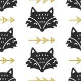 Scandinavian Fox nordic seamless pattern. Hand drawn trendy folk art decoration backdrop. Good for kids wallpaper, invitation card, scrapbook, wrapping paper vector illustration