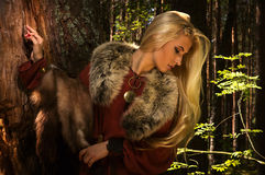 Scandinavian girl with fur skins Stock Image
