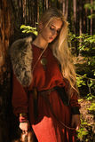 Scandinavian  girl  with fur skins Royalty Free Stock Image
