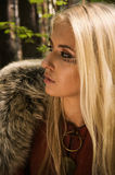 Scandinavian  girl with runic signs Stock Image