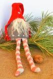Scandinavian gnomleksak för jul blå skugga för prydnad för julblommaillustration Royaltyfri Foto